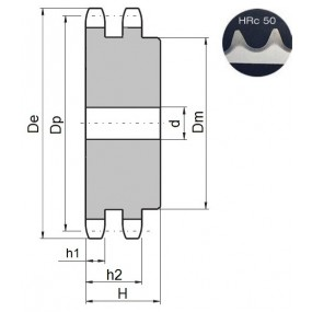 Koło łańcuchowe 08B-2-z12 zęby hart.