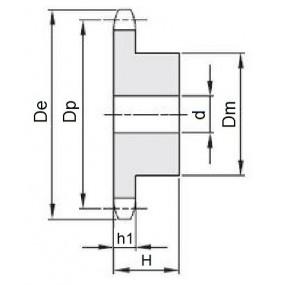 Koło łańcuchowe 04-1-z15 (6x2,8mm)