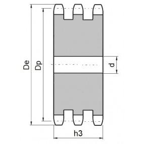 Koło łańcuchowe bez piasty 06B-3-z22 (3/8)