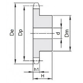 Koło łańcuchowe 08B-1-z38 (1/2)