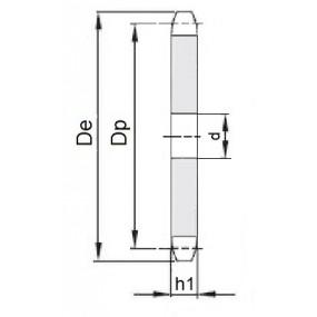Koło łańcuchowe bez piasty 12B-1-z44 (3/4)